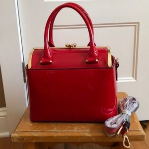 Handbags - Patent red handbag